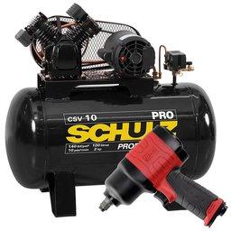 Kit Compressor de Ar SCHULZ PROCSV10/100  10 Pés 100L Mono + Chave Parafusadeira de Impacto 1/2 Pol. FORTGPRO FG3310