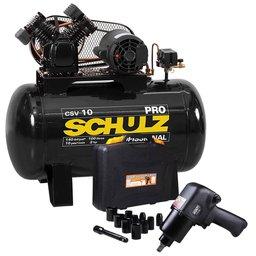 Kit Compressor de Ar SCHULZ PROCSV10/100 220V 10 Pés 100L Mono + Chave Parafusadeira de Impacto FORTGPRO FG3300.13