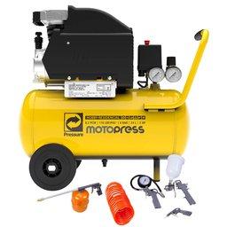 Kit Motocompressor PRESSURE MOTOPRESS  8,2 Pés 24L + Kit de Pintura FORTGPRO FG8670 5 Peças