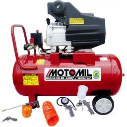 Kit Motocompressor MOTOMIL 37812.7 8,8 Pés3/min 50 Litros + Kit de Pintura FORTGPRO FG8670 5 Peças