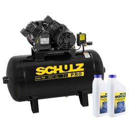 Kit Compressor de Ar SCHULZ-PROCSV10/100 10 Pés Monofásico  + 2 Óleos Lubrificantes SCHULZ-0100011-0 para Compressor de 1 L