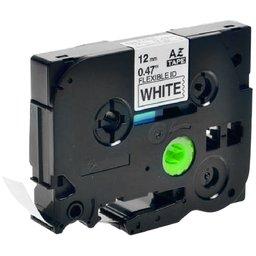 Fita Flexível para Rotulador Preto sobre Branco 12mm x 8m