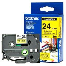 Fita Flexível para Rotulador Preto sobre Amarelo 24mm x 8m