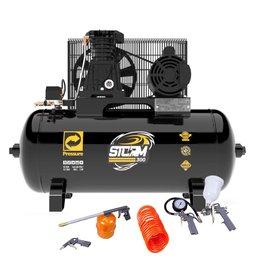 Kit Compressor de Ar PRESSURE 8975703011 10 Pés 100 Litros Bivolt + Kit de Pintura FORTGPRO FG8670 5 Peças