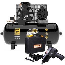Kit Compressor de Ar Pressure 8975703011 10 Pés 100 Litros Storm-300 + Parafusadeira Pneumática Fortg FG3300.13 1/2 Pol.