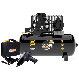 Kit Compressor de Ar PRESSURE-8975703011 10 Pés + Jogo Chave Parafusadeira de Impacto FORTGPRO-FG3300.13  13 Peças