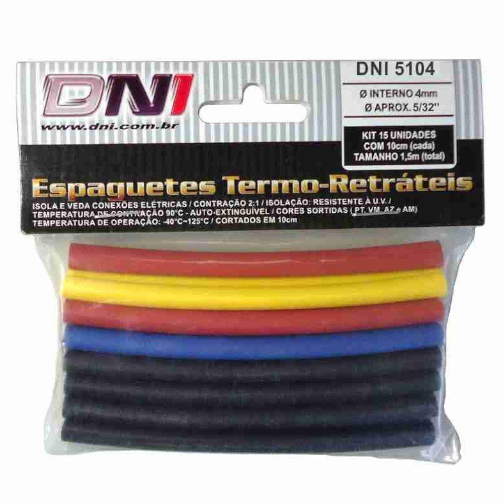 Kit Espaguete Termo Retrátil 4mm Contração 2:1 com 15 Peças