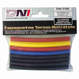 Kit Espaguete Termo Retrátil 6mm Contração 2:1 com 15 Peças