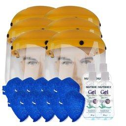 Kit 6 Protetores Facial Hospitalar 8 Pol. UMP-10893 + 10 Máscaras Respiratória N95 Antiviral PFF2 + 4 Álcool em Gel 70% 90g