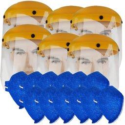 Kit 6 Protetores Facial Hospitalar 8 Pol. UMP-10893 + 12 Máscaras Respiratória N95 Antiviral PFF2