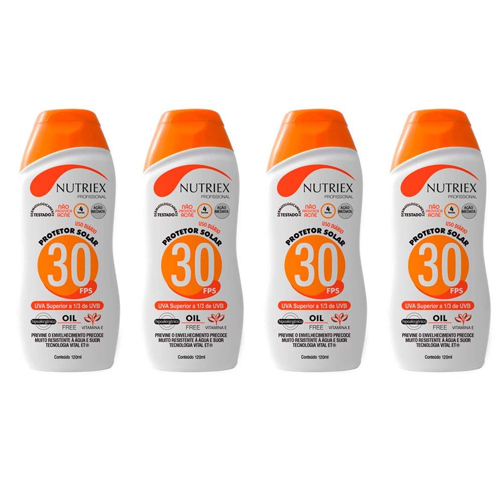 Kit com 4 Protetores Solar Profissional NUTRIEX 0060954 FPS 30 1/3 UVA 120 ml