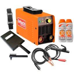 Kit Máquina Inversora de Solda Intech Machine SMI130 MMA 130A 220 + Protetor Solar Nutriex 0060954 FPS 30