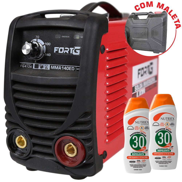 Kit Máquina de Solda Inversora FORTGPRO-FG4126 com Maleta 140A + 2 Protetores Solar NUTRIEX-60988 120 ml