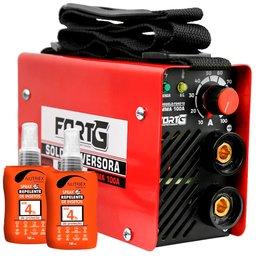 Kit Máquina Inversora de Solda MMA 100A  Fortg FG4010 + 2 Spray Repelente de Insetos 100ml Nutriex 62646