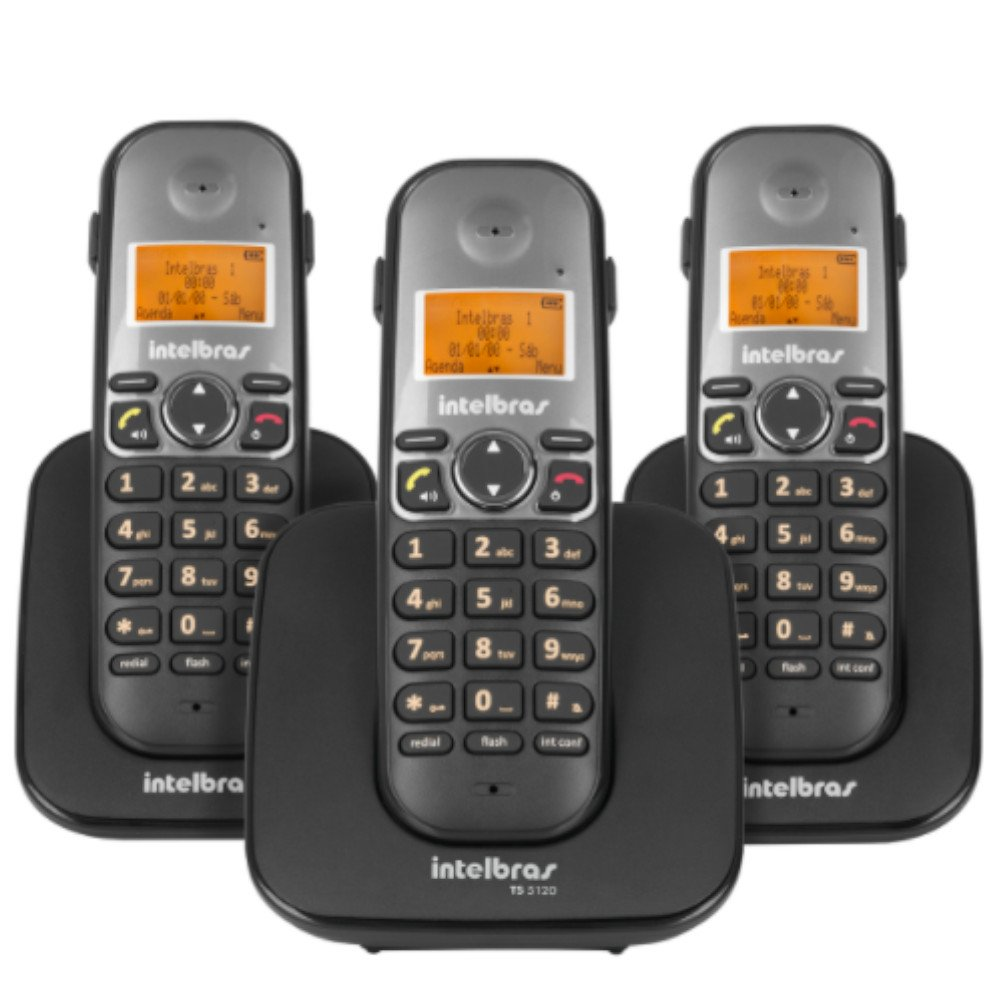 Telefone sem Fio Digital + 2 Ramais Adicionais Preto com Display Luminoso TS 5123