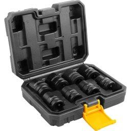Jogo de Soquetes Sextavados de Impacto Encaixe 1/2 Pol. 10 mm a 24 mm com 8 Peças