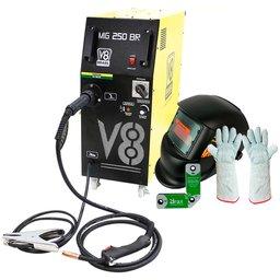 Kit Maquina de Solda MIG 250A  V8 Brasil 110473 + Máscara Solda Titanium 5496 + Esquadro Magnético 7kg Brax 32052 + Luva de Soldador com Cano Longo 20cm Proteplus PPM13