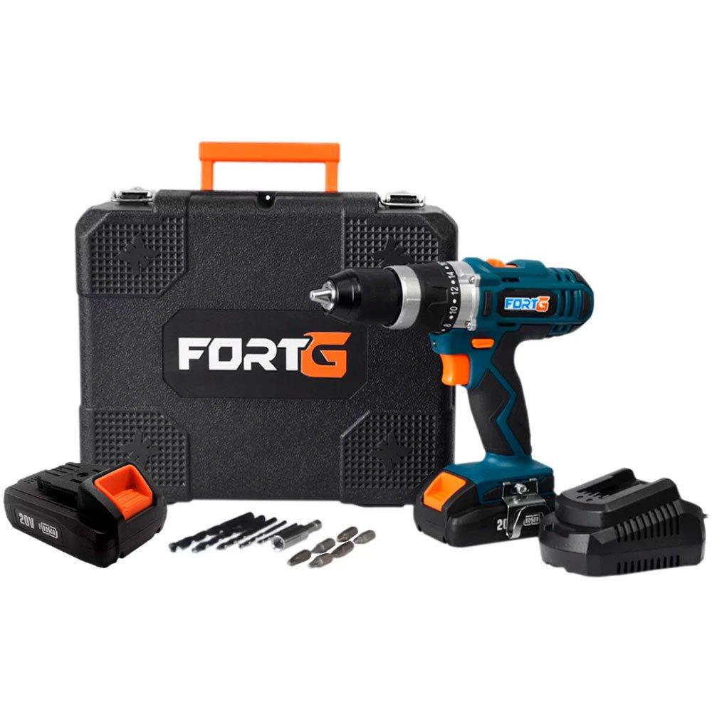 Kit Parafusadeira FORTG-FG3000 1/2 Pol. 20V com Maleta e Carregador + Bateria FORTG-FG3439 20V 1.3Ah