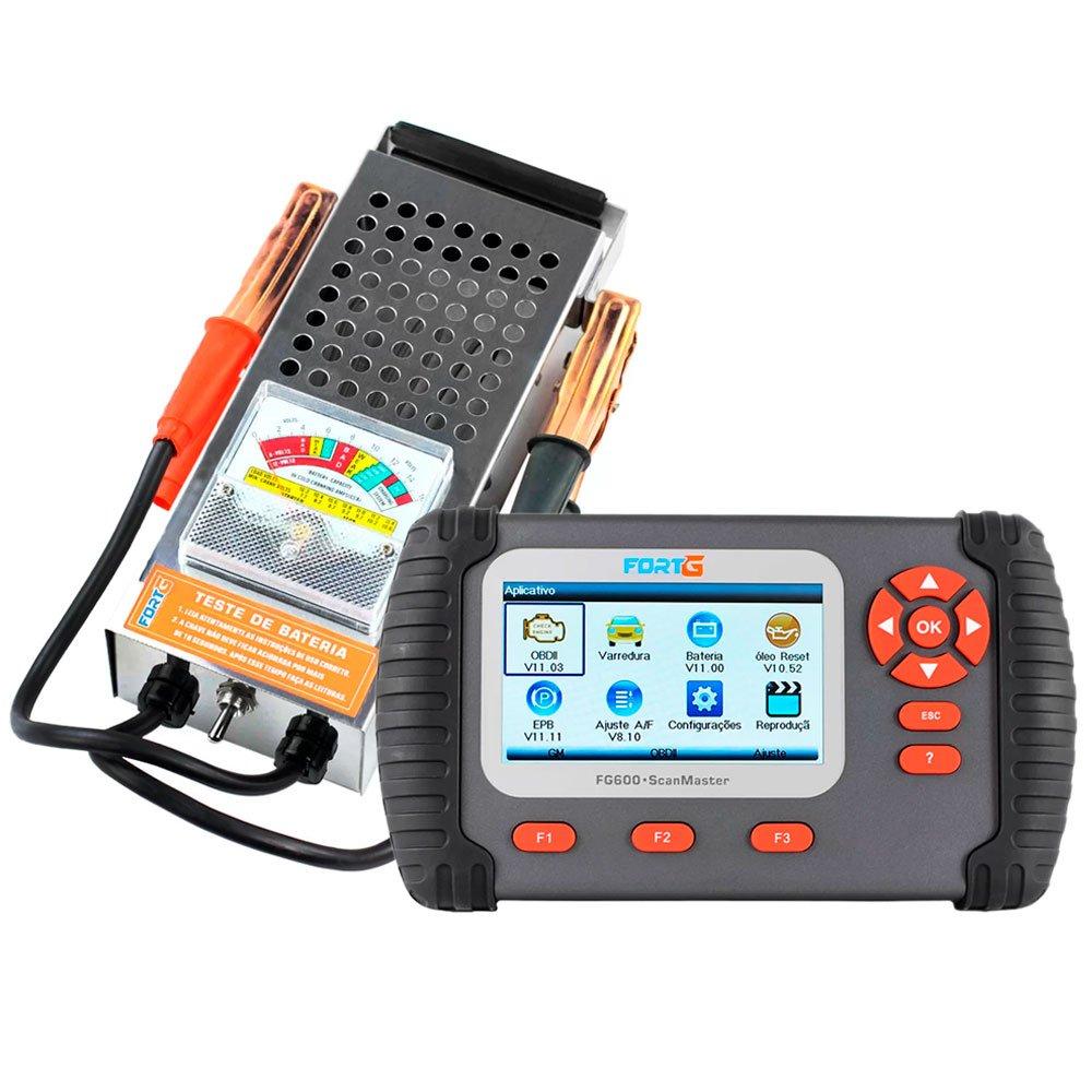 Kit Scanner Leitor de Códigos de Falhas FORTGPRO-FG600 Função AF OBDII/EOBD + Teste de Bateria FORTGPRO-FG037 6V a 12V e Funcionamento do Alternador