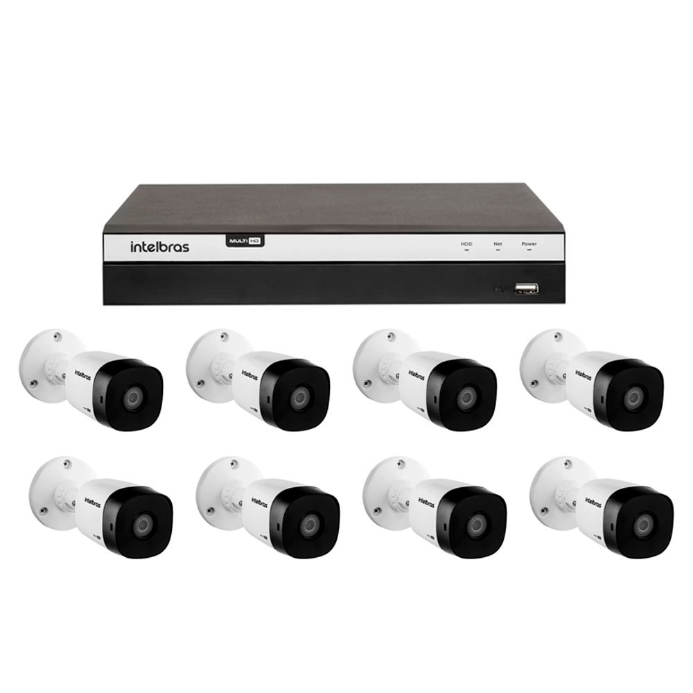 Kit Gravador Digital de Vídeo Multi HD 8 Canais BNC + 4 Canais - INTELBRAS-4580331 + 2 canais - INTELBRAS-4580330 + Câmera Infra Multi HD VHD 3,6mm 20m - INTELBRAS-4565323