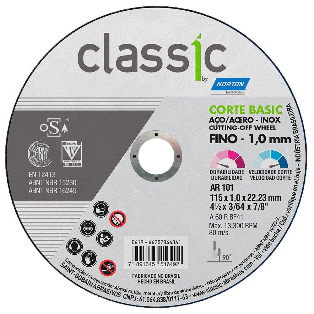 Disco de Corte Classic 115 x 1 x 22,23mm para Metais e Aço