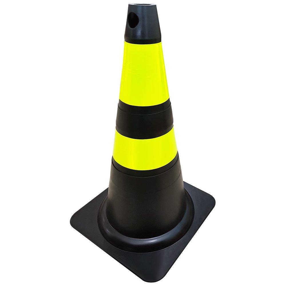 Cone Preto e Amarelo de Plástico 75cm
