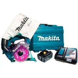 Serra Mármore Profissional a Bateria 18V Li-Ion com Maleta MAKITA-DCC500 + Bateria Íons Lítio 4.0 Ah 18V - MAKITA-BL1840B + Carregador Rápido de Bateria 18V e 14.4V de Íons Lítio Bivolt - MAKITA-197522-0