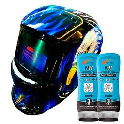 Kit Máscara de Solda Automática Tonalidade 11 Fixa Águia - TITANIUM-5245 + 2 Creme Protetor para Pele Luva Química NB Grupo 3 200g - NUTRIEX-0063651