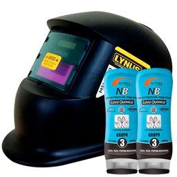 Kit Máscara de Solda Automática Tonalidade 11 Lynus 12195.6 + 2 Creme Protetor para Pele Grupo 3 200g Nutriex 0063651