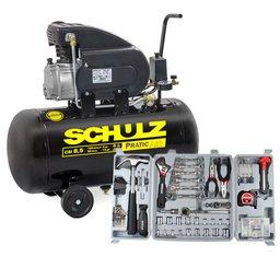Motocompressor de Ar Pratic Air CSI 8,5 Pés 2HP 50L - SCHULZ-CSI85/50 + Kit Ferramentas Manuais Hobby com 135 Peças - SCHULZ-927.0011-0