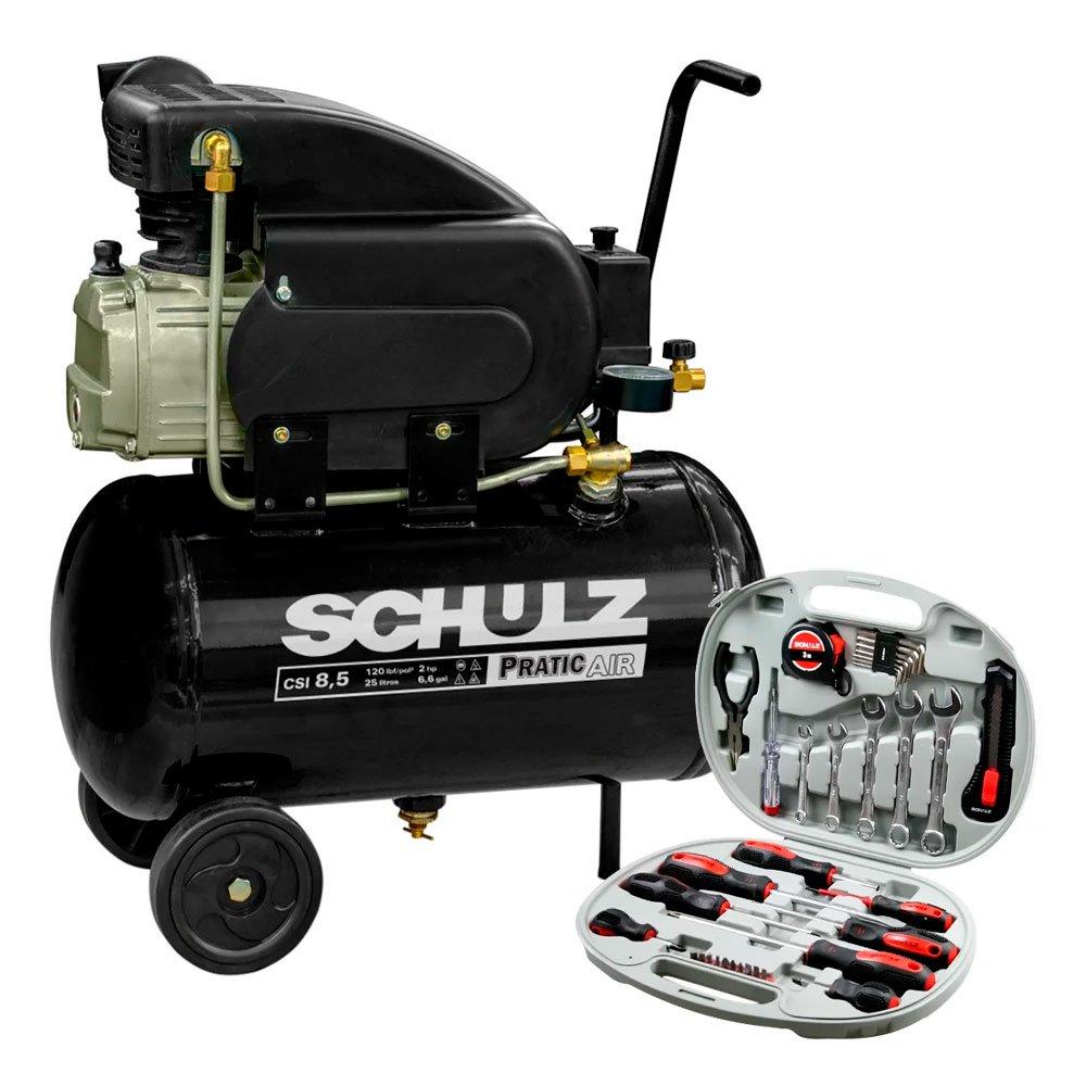 Motocompressor Pratic Air 8,5 Pés 2 HP 25L Monofásico - SCHULZ-CSI-8525-AIR + Kit de Ferramentas Manuais Hobby com 34 Peças - SCHULZ-927.0006-0