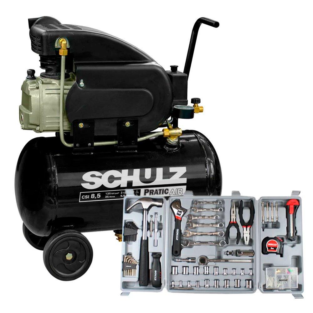 Motocompressor Pratic Air 8,5 Pés 2 HP 25L Monofásico - SCHULZ-CSI-8525-AIR + Kit Ferramentas Manuais Hobby com 135 Peças - SCHULZ-927.0011-0