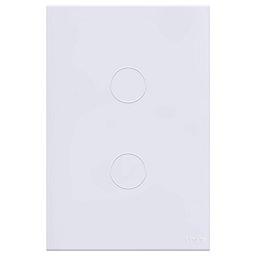Interruptor Touch Glass em Acrílico Branco com 2 Botões