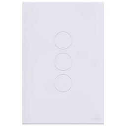 Interruptor Touch Glass em Acrílico Branco com 3 Botões