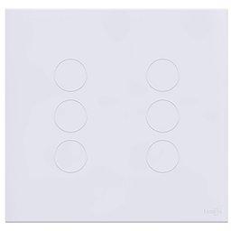 Interruptor Touch Glass em Acrílico Branco com 6 Botões