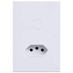 Interruptor Touch Glass em Acrílico Branco com 1 Botão  e 1 Tomada