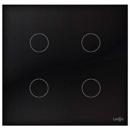 Interruptor Touch Glass em Acrílico Preto com 4 Botões