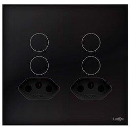 Interruptor Touch Glass em Acrílico Preto com 4 Botões e 2 Tomadas