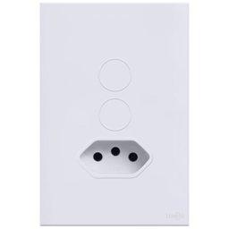 Interruptor Touch Glass em Acrílico Branco com 2 Botões e 1 Tomada