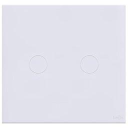 Interruptor Touch Glass em Acrílico Branco 4 x 4 com 2 Botões