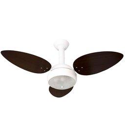 Ventilador de Teto Miray Branco 110V 3 Pás MDF Tabaco com Lustre Arredondado