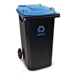 Cesto de Lixo Seletivo Eco Preto e Azul 120L