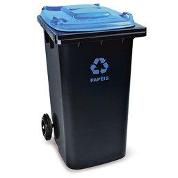Cesto de Lixo Seletivo Eco Preto e Azul 240L
