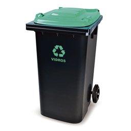 Cesto de Lixo Seletivo Eco Preto e Verde 240L