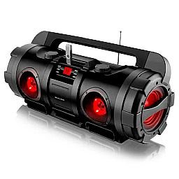 Caixa de Som Boombox Bazooka com Entrada USB/ Micro SD/ Rádio FM/ Bluetooth 80W Rms Bivolt