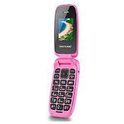 Celular Flip Up Dual Chip MP3 Rosa com Câmera