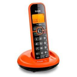 Telefone sem Fio Laranja com Viva-Voz, Identificador de Chamadas e Adaptador Bivolt