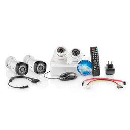 Kit Segurança com 2 Câmeras Bullet e 2 Câmeras Dome 12 Led Branco