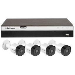Kit Gravador Digital de Vídeo Multi HD Intelbras 4580330 + 4 Câmeras de Segurança Infravermelho Multi HD 20 Metros Intelbras 4565310