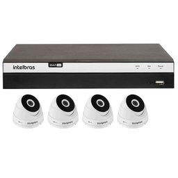 Kit Gravador Digital de Vídeo Multi HD Intelbras 4580330 + 4 Câmeras de Segurança Dome Multi HD 20 Metros Intelbras 4565294